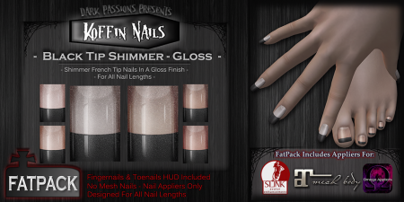 Koffin Nails - Fatpack - Black Tip Shimmers - Gloss