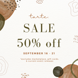 tarte. 50% off storewide sale